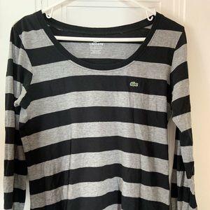 Lacoste Women's L/S Striped Shirt Sz 42 (Lg)